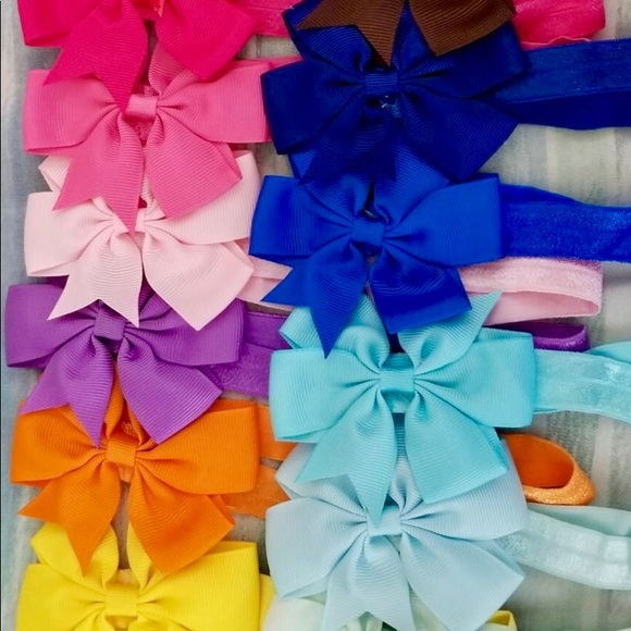 Other - 🎀New 20 Baby Girl Hair Bow Headbands - Stretchy🎀